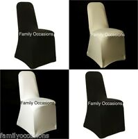 SPANDEX CHAIR COVERS AVAILABLE IN WHITE, IVORY, BLACK UNIVERSAL FIT BRAND NEW