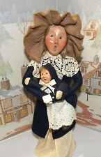 BYERS CHOICE Woman Holding Child in Navy Winter Coat 1992   *