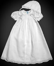 NWT FELTMAN BROTHERS Hand Embroidered Christening Gown with Bonnet WHITE 0-3 mos