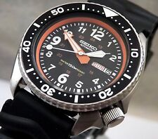 Seiko Black Military Pilot 24 Hour Automatic Day/Date Diver's Watch Custom 6309