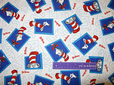 Dr. Seuss The Cat In The Hat Blocks Toss White Cotton Fabric BY THE HALF YARD