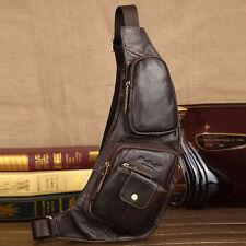Genuine Leather Messenger Chest Hiking Bag Men Single Shoulder Travel Back Pack