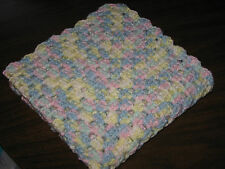 HANDMADE CROCHETED PREEMIE BLANKET - BABY RAINBOW PASTEL COLORS - DOLL BLANKET
