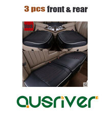 Premium New Universal 3pcs Breathable Leather Car Front & Rear Seat Cover Black