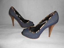 New Giuseppe Zanotti Denim Peep Toe Shoes UK7 RRP £460