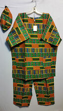 Men's African Traditional Kente Print Cloth Pant Set Ethnic Dashiki Free Size