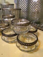 Set Of 4 Pumpkin Silver Rim Mercury Vintage Glass Tea Light Holders Wedding