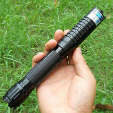 High Power 450nm Blue Laser Pointer Pen Focusable Burning Paper Wood 5 Star Caps