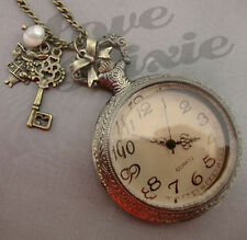Alice In Wonderland Reloj De Bolsillo Collar Rabbit clave y Perla Grande Steampunk