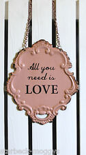 PINK METAL LOVE HANGING WALL SIGN VINTAGE PLAQUE SHABBY CHIC DESIGN