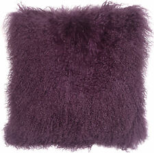 PIllow Decor - Genuine Mongolian Tibetan Sheepskin Lamb Wool Purple Throw Pillow