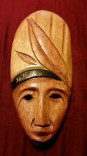 "WOODEN HANDCARVED MASK,JAMAICAN MAN W/HEADRESS--CARIBBEAN MASK 14""TALL X 6""WIDE"