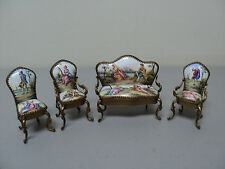 ANTIQUE AUSTRIAN VIENNA ENAMEL MINIATURE GILT METAL SETTEE & 3 CHAIRS