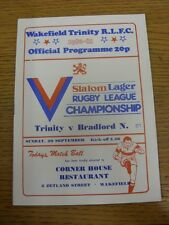 29/09/1980 Rugby League Programme: Wakefield Trinity v Bradford Northern  . Than