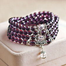 Exquisite 6mm Crystal Buddhist Amethyst 108 Prayer Beads Bracelet Necklace