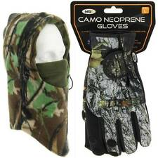 NGT Large Neoprene Fishing Camo Gloves + Camo Shooting Hunting Snood Face Guard