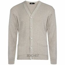 Mens Fine Knit Plain V Neck Buttoned Fashion Grandad Cardigan Top Size S to 5XL