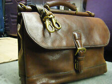 vintage TIMBERLAND Heavy Duty brown Leather Mens Briefcase Messenger Bag USA