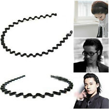 Black Metal Unisex Wavy Band Hair Head Hoop Mens Women Fashion Sport Headband