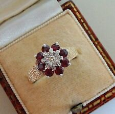 Vintage 9ct Gold Ruby and Diamond Cluster Ring