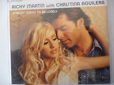 CD SINGLE - RICKY MARTIN with CHRISTINA AGUILERA -Nobody wants to be lonely 2001