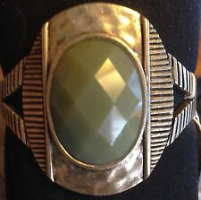 "Lucky Brand Sea-Green Stone n Gold Hammered Metal 1.5"" Cuff Bracelet MSRP $59"