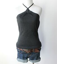 NWT Express Metallic Halter Sleeveless Stretch Fitted Knit Shirt Top Blouse M