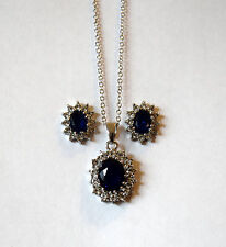EXQUISITE SILVER PLATED BLUE TEAR CZ CRYSTAL NECKLACE & EARRING JEWELRY SET