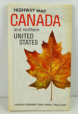 VINTAGE 1963 CANADA & NORTHERN U.S HIGHWAY FULL COLOR FOLDING ROAD MAP  VG COND.