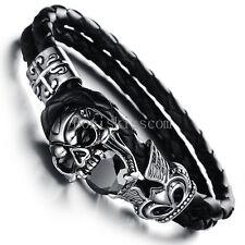 Stainless Steel Skull Fleur De Lis Cross Leather Cuff Men Bracelet Halloween Gif