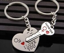 I Love You Key In Heart Couple Key Chain Ring Keyring Keyfob Lover Gift 1 Pair