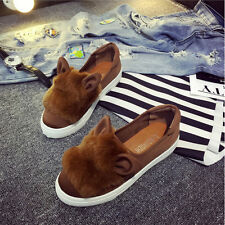 D110 Rabbit Ears Women's Plush Canvas Loafers Flats Ladies Slip-on Casual Shoes