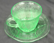 NICE ATLAS CUP SAUCER SET ROYAL LACE GREEN DEPRESSION FREE SHIP