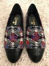 NIB Chanel 16K Black Purple White Tweed CC Cap Toe Mule Loafer Moccasin Flats 41