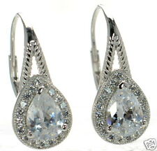 Solid 925 Sterling Silver Lab Simulated Diamond Teardrop Leverback Earrings '