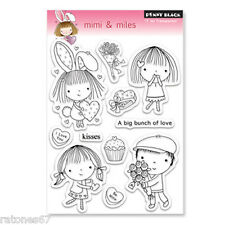 New Penny Black MIMI & MILES Clear Stamp Hearts Love Valentines Friends Girl Boy