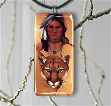 BOB CAT NATIVE AMERICAN SPIRIT GLASS ART PENDANT