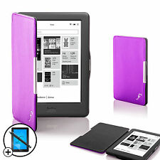 Leather Purple Smart Shell Case Cover Kobo Glo HD eReader + Screen Prot Stylus