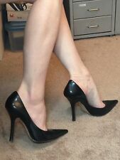 *BLacK LeATheR* Sz 8 Pointy Toe CARRIE Stilettos High Heels PUMP GuESS Spike