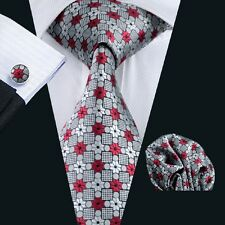 C-1019  New Style Mens 100% Silk Neckties Tie+Hanky+Cufflinks Sets Free Shipping