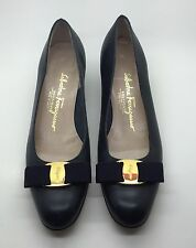 SALVATORE FERRAGAMO Navy Blue Leather Ballet Flats Low Heel Vara Bow 8AA Italy