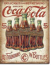Coca Cola 5 Bottles Retro metal sign 420mm x 310mm (de)