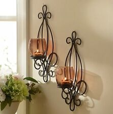 Metal Scrolled Brown Sconce, Set of 2 Wall Candle Holder Decor