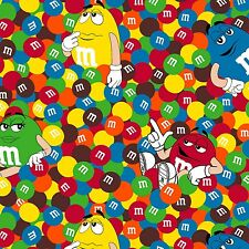 "Mars M&m's Friends 100% cotton 44"" wide fabric by the yard"