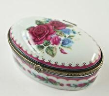 Caja con tapa, de pastillas, Porcelana, Decoración Floral, hebilla metal D5)