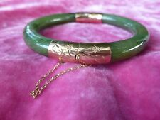 FINE 14K GOLD AND SPINACH JADE BRACELET MARKED