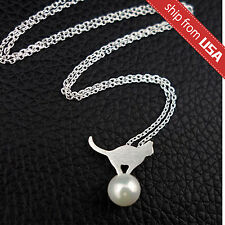US 925 Sterling Silver Cat Faux Pearl Designer Necklace Novelty gift Cute Kawaii