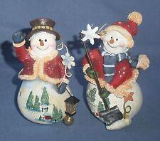 "2 Country Snowman Figurine Snow Shovel Lanter Christmas Tree Coat Hat 3.5"""