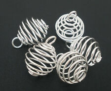 50Pcs Silver Plated Spiral Beads Cages Pendants Jewelry Diy Findings Charms 14mm