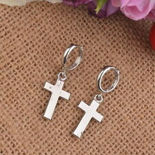 Nice New Modern Silver Plated Smooth Shiny Cross Hoop Style Dangle Drop Earrings